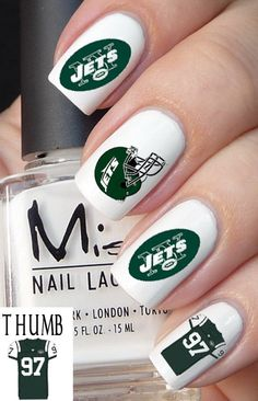 50 pcs New York Jets Football Nail Decals by DesignerNails on Etsy, $4.00