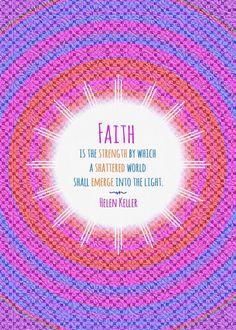 helen keller quote faith emerge light strength Text art