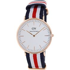 Daniel Wellington continues its reputation for quality with this definitive timepiece. This casual watch features a rose-gold stainless-steel case and bold blue/white/red band that looks great for any occasion. The surface of the white dial is protected by a Mineral crystal that reads very easily in many different light settings. Other features include water-resistant and measures seconds.