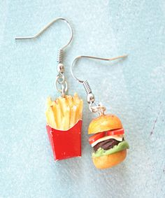 burger and fries dangle earrings
