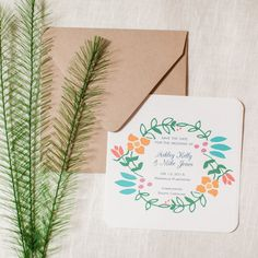 Modern Floral Save the Date Square Colorful Flowers Wedding - shop greeting cards, handmade stationery, & wedding invitations by dodeline design