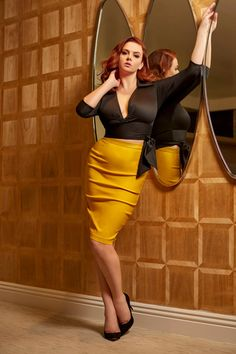 Dixiefried Perfect Pencil Skirt in Mustard | Pinup Girl Clothing