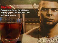 Rojo Loco - James Vega Recipe 1 oz Havana Club Dark Rum oz Chambord oz Raspberry cordial syrup Dash of lime (or alternatively a lime wedge if you prefer) Fill with cranberry juice Game Cocktail, Raspberry Cordial, Mass Effect Art, Mass Effect Universe, Fandom Games, Havana Club, Drinking Buddies, Look Here, 1 Oz