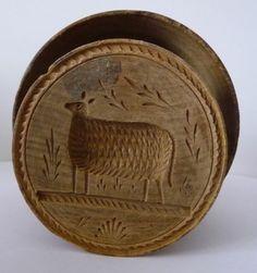 Folk Art 19th Century Carved Sheep Treen Wood Butter Stamp Print Press Mold | eBay