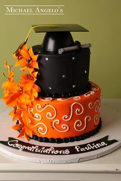 Blue And White Graduation Cakes 2014 Black with orange flowers