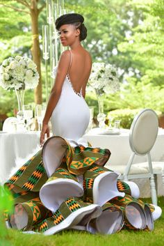 Most of the time, African wedding dresses are more captivating and colorful than the white, Western-world bridal attire. Let's have a look: African Wedding Attire, African Attire, African Wear, African Dress, African Weddings, African Print Wedding Dress, African Women, Ghana Wedding Dress, Nigerian Wedding Dress