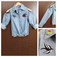 In store now: Patched - Denim C..., visit http://ftfy.bargains/products/patched-denim-cold-shoulder-shirt-with-front-knot-peace-birds?utm_campaign=social_autopilot&utm_source=pin&utm_medium=pin  #amazing #affordable #fashion #stylish