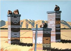 'Kyeburn' beehives by Michael Hight, NZ. Lithograph, limited edition 1,050NZD. (in Nov 2013)