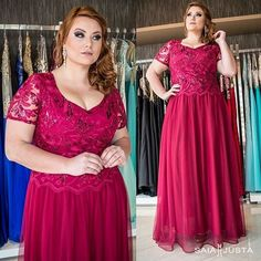 Fuchsia Plus Size Prom Dresses A-line Chiffon V-neck Sexy Long Prom Dress Plus Size Long Dresses, Plus Size Gowns, Evening Dresses Plus Size, Stretch Satin, Dame, Plus Size Fashion, Chiffon, Bridesmaid Dresses, Formal Dresses