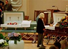 Victims Kelly Fleming and Daniel Mauser in their caskets during their funeral. They were both killed in the library. Kelly was shot in the back by Dylan Klebold and Daniel Mauser was shot point blank in the face by Eric Harris. #columbine