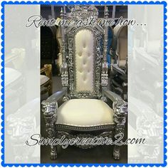 White and silver throne chair rental