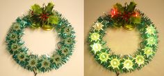Green and Red Blinking Light Festive Christmas Wreath Tree Top, Tree Topper Christmas Wreaths With Lights, Christmas Tree Star, Christmas Decorations, Holiday Decor, Vintage Wreath, Red Tree, Tree Tops, Vintage Christmas, Festive