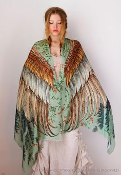Wing Scarf Bird Feather Scarf Festival Clothing Sarong by Shovava Feather Scarf, Böhmisches Outfit, Green Wing, Pocket Squares, Pashmina Scarf, Festival Outfits, Festival Clothing, Festival Wear, Mode Style