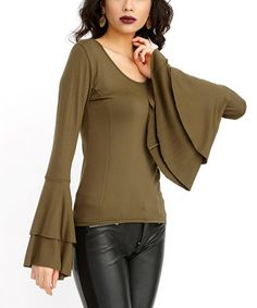 Khaki Bell-Sleeve Top #zulily Love the double bell sleeves and the slimming side seam.