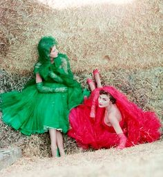 Paris, 1952 by Milton Greene vintage fashion style color photo print ad model magazine designer couture green and red party cocktail dress hat gloves shoes matching full skirt hay grass 50s