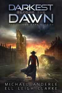 Darkest Before the Dawn designed by Jeff Brown | TP: Clean, crisp and strong. Love the colors. A very coherent cover design, with an amazing contrast between the background colors and the title. Simply fantastic! ★