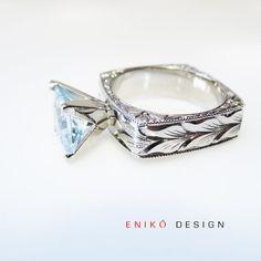 Alternative Engagement ring Princess cut Aquamarine by enikodesign, $3280.00
