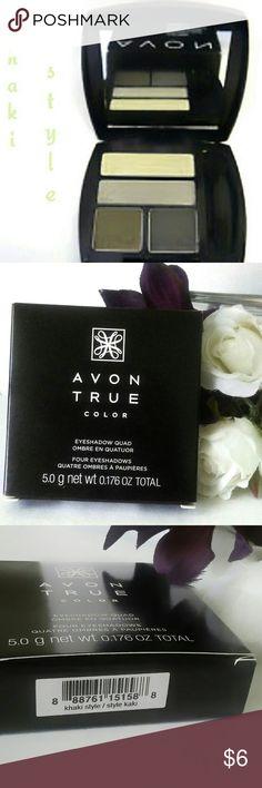 Avon True Color Eyeshadow Quad - NIB - Brand New Easy numbered shades for effortless eyes.  Multi-finish. Color is Khaki Style. Avon Makeup Eyeshadow