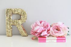 gold sequin letter