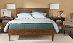 Nickel lamps with white shades   lowry bed from Room & Board