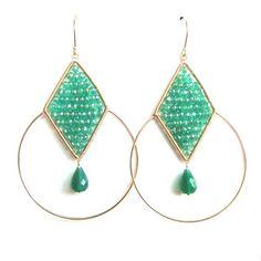 Leah Green Onyx Hoop Earrings