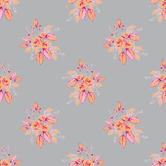 Farmhouse Roses pink orange gray fabric by art_is_us on Spoonflower - custom fabric