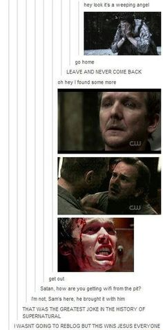 What do the Supernatural fans have in common with the Winchesters? We're both trapped in hell at some point Johnlock, Misha Collins, Jensen Ackles, Great Jokes, Bae, Supernatural Destiel, Bubbline, Fandoms, My Demons