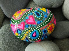 """""""Spring Fever"""" sea stone from Cape Cod  layered waterproof glaze inks and lots and lots of love..."""