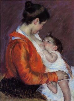 Louise Nursing Her Child | Mary Cassatt - pastel on paper, 1898 #breastfeeding #art