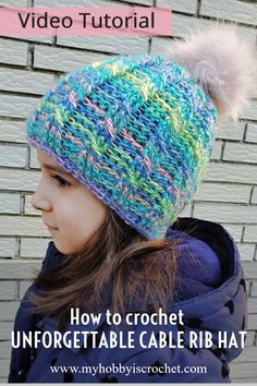 Learn how to crochet the Unforgettable Cable Rib Hat with the free Video Tutorial from My Hobby is Crochet blog! Free written instructions in 3 sizes (small child to adult). Crochet Hats For Boys, Easy Crochet Hat, Crochet Cable, Crochet Beanie Pattern, Crochet Baby Hats, Free Crochet, Crochet Patterns, Crochet Headbands, Crocheted Hats