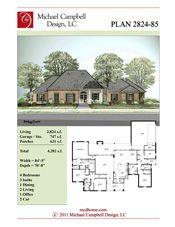 House Plan 2800 square feet 4 bedroom 3 bath Louisiana Home
