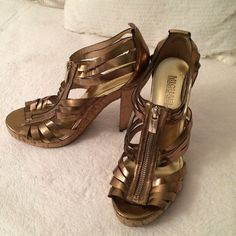 MK Gold Heels ✨ They are a bit damaged as shown on pictures. Says size 6 but better for 6.5. Michael Kors Shoes Heels