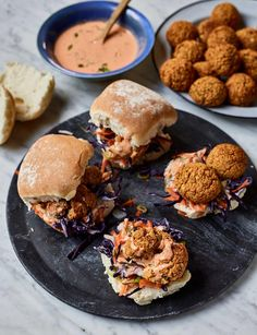 Transform a classic store-cupboard ingredient into a satisfying lunch with Nadiya Hussain's recipe for falafels made with baked beans. As seen on Nadiya's BBC series, Time to Eat. Vegetarian Recipes, Cooking Recipes, Healthy Recipes, Vegetarian Baked Beans, Bbc Recipes, What's Cooking, Yummy Recipes, Yummy Food, Tasty