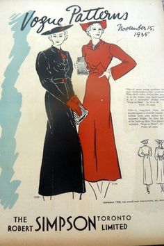 Vogue Patterns, November 1, 1935 featuring Vogue 7200 and 7194