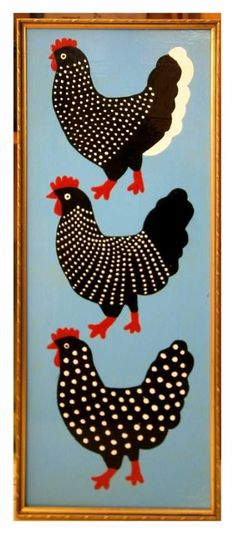 """Saatchi Art is pleased to offer the painting, """"chicken in a golden frame,"""" by Margret Scherg. Original Painting: Oil on N/A. Chicken Quilt, Chicken Bird, Chicken Crafts, Rock Crafts, Diy Arts And Crafts, Fabric Painting, Painting Frames, Chicken Illustration, Chicken Images"""