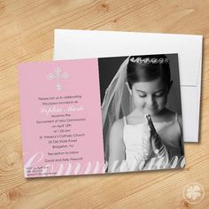 Girl's First Communion Invitations Photo by ThePaperShamrock