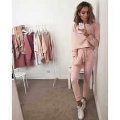 Pastel pink tracksuits for spring - item details below. @missguided 'Slim fit joggers pink' 'Pink crew neck sweater'
