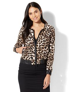 7th Avenue - Faux-Leather Trim Bomber Jacket - Leopard Print. Find your perfect size online at the best price at New York & Company.