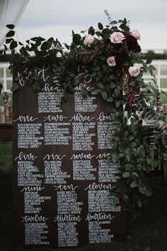Rustic and elegant seating chart | Image by a sea of love