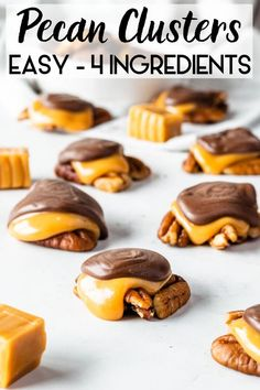 Pecan Clusters with caramel and chocolate. Easy treat to make, ready in less than 30 minutes, and sure to please everyone! Best Dessert Recipes, Candy Recipes, Easy Desserts, Sweet Recipes, Amazing Recipes, Snack Recipes, Chocolate Treats, Gluten Free Chocolate, Chocolate Recipes