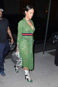24 of the baddest of bad gal looks, Rihanna style: try a sheer lace dress with nothing but a bodysuit underneath.