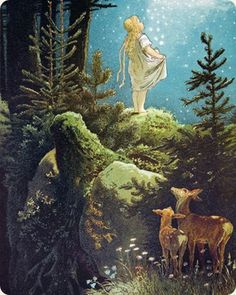 """illustration of the Brothers Grimm fairy tale """"The Star Money"""" (Die Sterntaler) by Victor Paul MOHN Art And Illustration, Fairy Tale Illustrations, Botanical Illustration, Images Esthétiques, Brothers Grimm Fairy Tales, Grimm Tales, Inspiration Art, Vintage Fairies, Fairytale Art"""