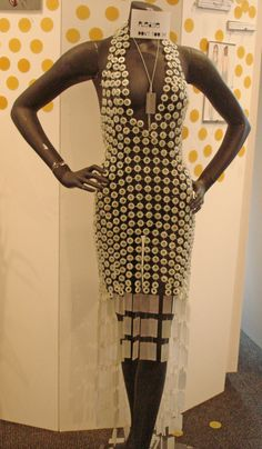 "The dress made of buttons and safety pins from the exhibit ""Trash Chic"" at the Art Institute, NYC."