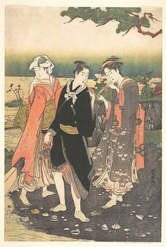 On Shinegawa Beach at Ebb-Tide  ( A man with two beauties) Utagawa Toyokuni I  (1769–1825)  Edo period Japan Polychrome woodblock print; ink and color on paper