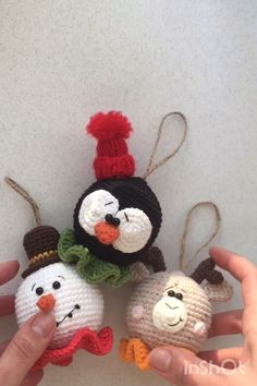 deer, penguin and snowman for decor your Christmas tree. ChristmasCrochet deer, penguin and snowman for decor your Christmas tree. Crochet Christmas Decorations, Crochet Decoration, Crochet Christmas Ornaments, Christmas Crochet Patterns, Holiday Crochet, Christmas Knitting, Crochet Patterns Amigurumi, Crochet Gifts, Crochet Dolls