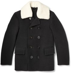 Burberry Prorsum - Shearling-Trimmed Wool Peacoat|MR PORTER