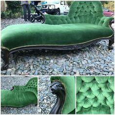 British chaise longue , green velvet dapper antique fancy vintage furniture lounge chase chez emerald