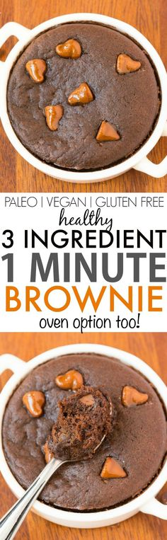3 Ingredient Flourless Brownie (V GF Paleo Whole A healthy three ingredient single serve mug brownie ready in ONE minute and completely guilt-free- Moist gooey and a rich dark taste- It's Grain free sugar free dairy free and plant based- Perfec Healthy Vegan Dessert, Sugar Free Desserts, Vegan Desserts, Healthy Desserts, Gluten Free Desserts, Gluten Free Recipes, Paleo Vegan, Vegan Sugar, Healthy Recipes