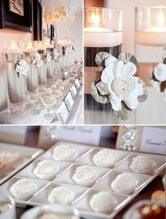 Wonderful use of ribbon on water filled tall vases with floating candles on top in a total white suggestion in color combination with food and drinks.This is soooo stylish!