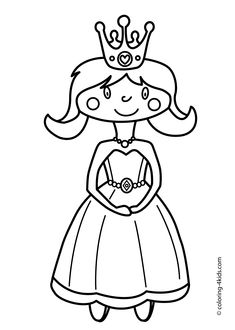 Cute Princesse Coloring pages for girls - printable coloring pages for kids free